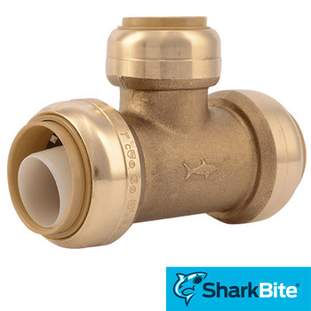SharkBite Push Reducing Tee  in. x 1 in. x 3/4 in. - Lead Free Brass Plumbing Fitting