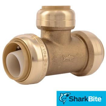 SharkBite Push Reducing Tee  in. x 1 in. x 3/4 in. - Lead Free Brass Plumbing Fitting