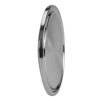 12 in. Sold End Cap - 16AMP - 316L Stainless Steel Sanitary Clamp Fitting (3A) Side View 1