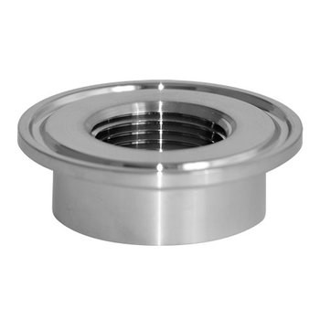 3/4 in. 23BMP Thermometer Cap (1/4 in. Tapped FNPT) 316L Stainless Steel Sanitary Clamp Fitting (3A) View 1