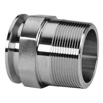 2 in. Clamp x 1-1/4 in. Male NPT Adapter (21MP) 304 Stainless Steel Sanitary Clamp Fitting