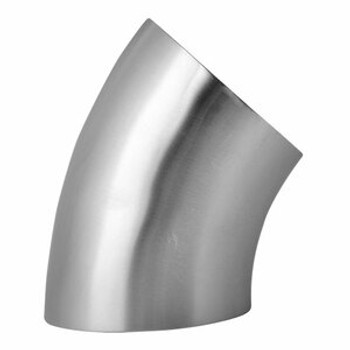 12 in. Unpolished Short 45° Weld Elbow - 2WK - 304 Stainless Steel Tube OD Butt Weld Fitting View 2