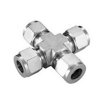 3/16 in. Tube Union Cross - Double Ferrule - 316 Stainless Steel Tube Fitting