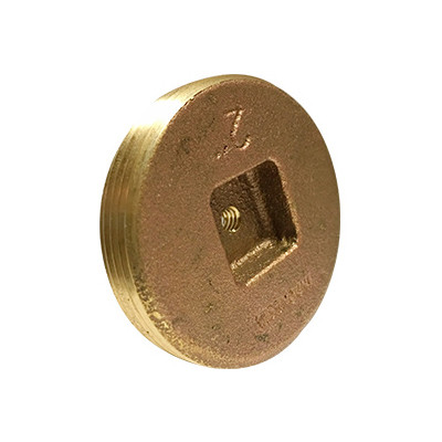 3-1/2 in  Countersunk Square Head Cleanout Plug with 1/4-20 Tap, Southern  Code, Cast Brass Pipe Fitting