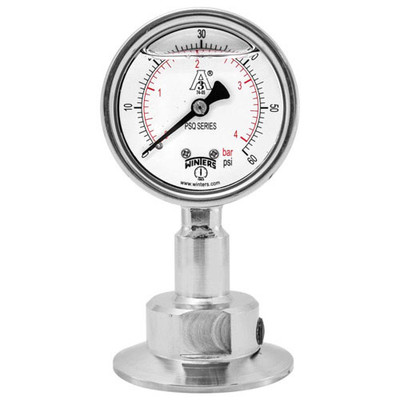 2 5 in  Dial, 0 75 in  BTM Seal, Range: 30/0/300 PSI/BAR, PSQ 3A  All-Purpose Quality Sanitary Gauge, 2 5 in  Dial, 0 75 in  Tri, Bottom
