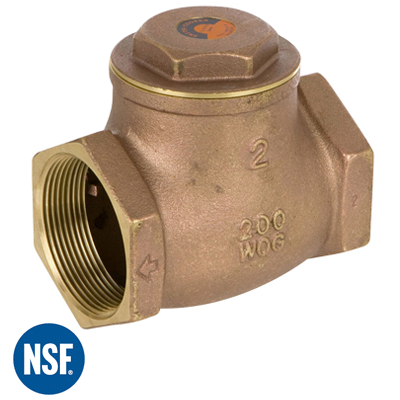 "200 WOG 10 1/"" FNPT Threaded Lead-Free Brass Spring Check Valve"