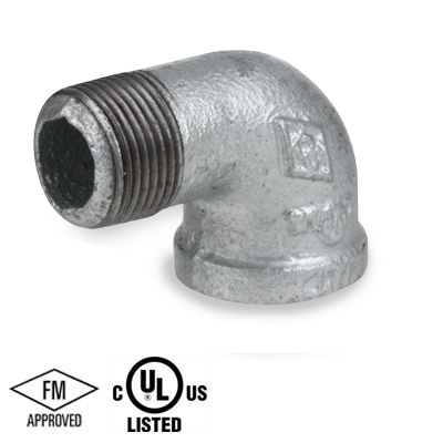 4 in  Galvanized Pipe Fitting 150# Malleable Iron Threaded 90 Degree Street  Elbow, UL/FM