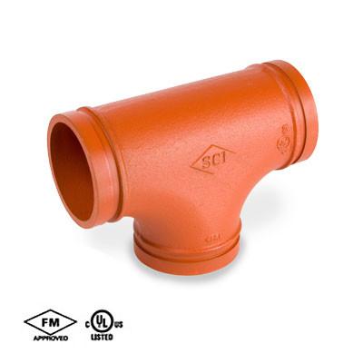 2-1/2 in  Grooved Fitting Tee Standard Radius Orange Paint Coating UL/FM  65E COOPLOK