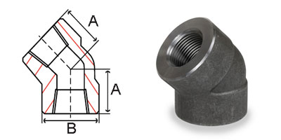 Pipe Fittings Forged Carbon Steel 3000 lb 45 Deg. Elbows Dimensions