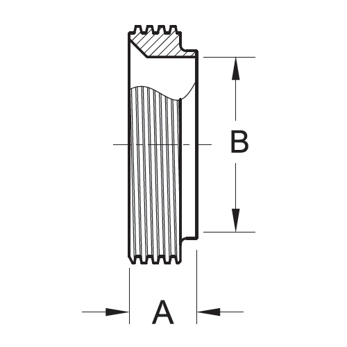 Drawing 15TRF Short Weld Ferrule - Bevel Seat (3A) 304 Stainless Steel Sanitary Fitting