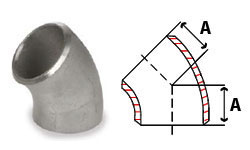 45 Degree Butt Weld Elbow Sch 5, 304/304L Stainless Steel Butt Weld Pipe Fittings