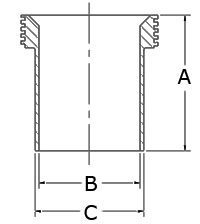 15WL Threaded Ferrule, Tank Spud (Light) (3A) 304 Stainless Steel Bevel Seat Sanitary Fitting