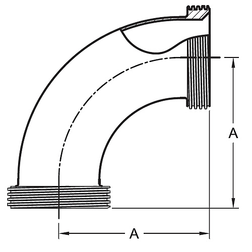 Drawing Threaded Bevel Seat By Threaded Bevel Seat 90° Elbow (2C)