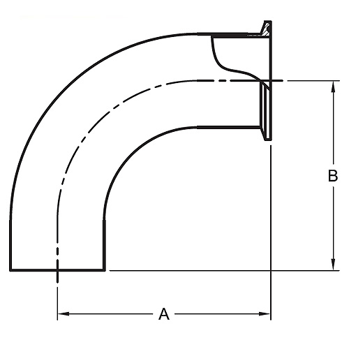 Stainless Steel Sanitary Fittings - Polished 90° Degree Clamp By Weld Elbow (L2CM)