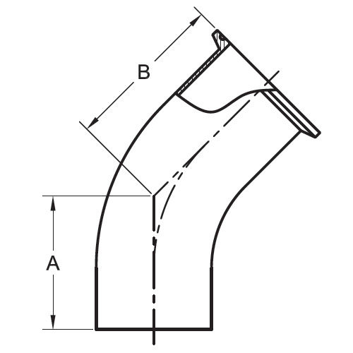 Drawing Polished 45° Degree Clamp By Weld Elbow (L2KM)