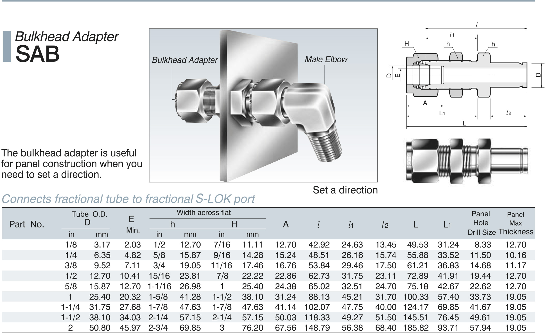 Stainless Steel Tube Fittings Bulkhead Adapter Dimensions
