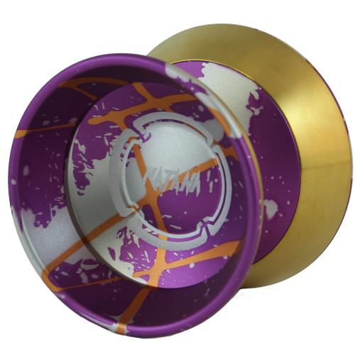Magic Katana yoyo Purple Splash w/ silver and orange