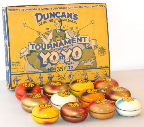 Duncan Vintage Wooden Tournament Day Glo 77 Yoyos in original display box