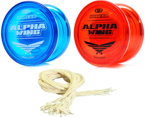 2 Yomega Alpha Wing Yoyos and 25 Yoyo Strings Package