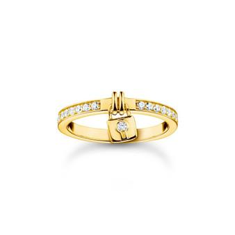 Padlock Dangle Gold Ring