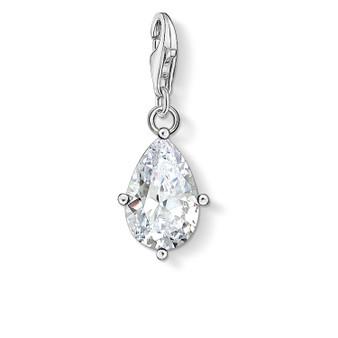 White Stone Droplet Charm