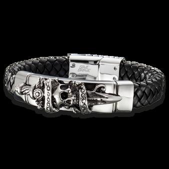 Skull and Dagger Leather Bracelet