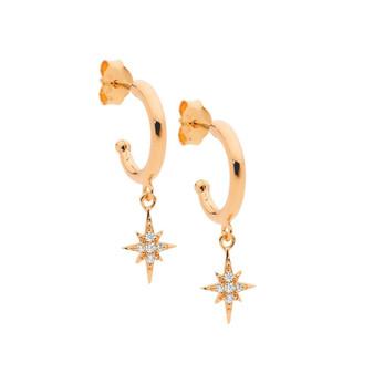 Rose Gold Star hoop Earrings