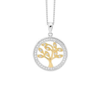 Tree of Life Silver and Gold Pendant