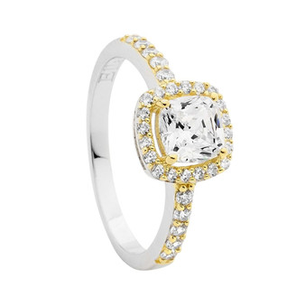 Cushion Cut Halo Silver and Gold Ring