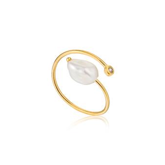 Gold Pearl Twist Ring