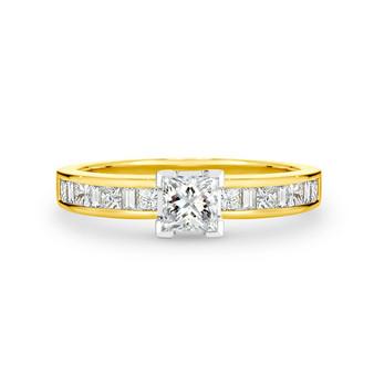Princess and Baguette Diamond Ring