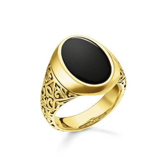 Gold Onyx Oval Signet Ring