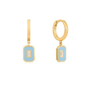 Blue Enamel Hoop Earring