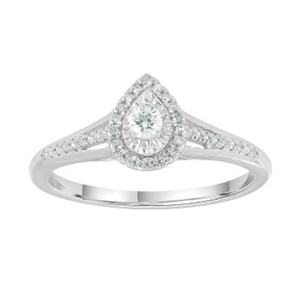 9ct Gold Diamond Pear Ring