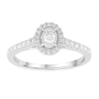 9ct White Gold Oval Ring