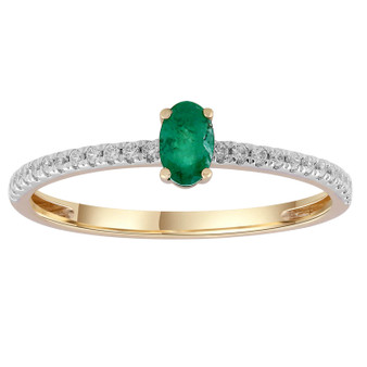 9ct Emerald Diamond Ring