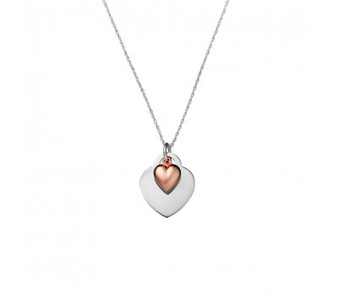 Silver and Rose Gold Heart Necklace