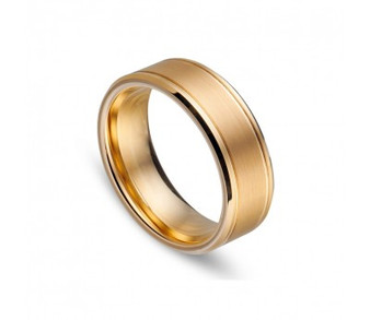 Tungsten Gold Brushed Ring
