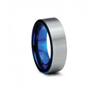 Tungsten Brushed Ring with Blue inside