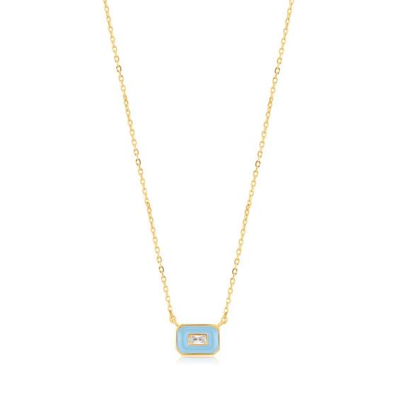 Blue Enamel Gold Necklace
