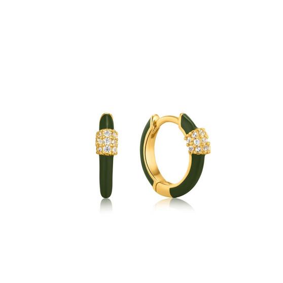 Forest Green Enamel Earrings