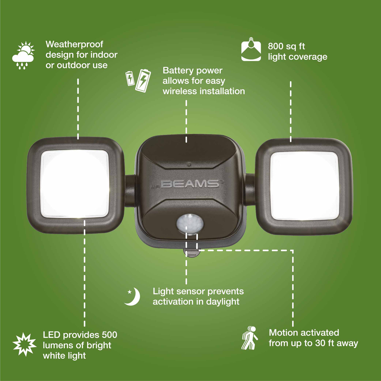 Mr Beams High Performance Motion Sensor Security Light 4 D battery LED WHITE