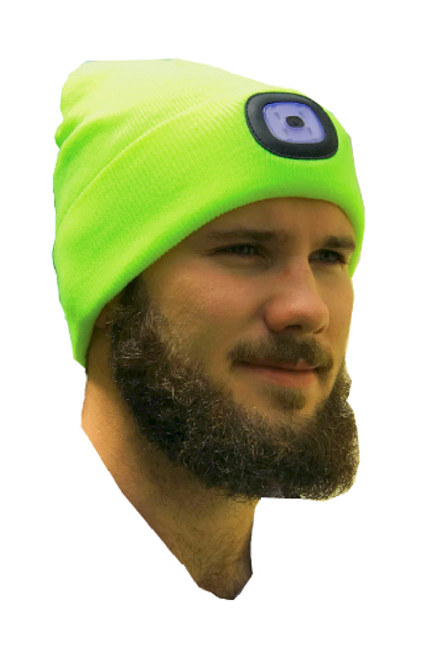 Hi-Vis Safety Green Beanie w/ Head Lamp  ## FBHL-G ##