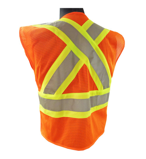 Class 2 Orange Hi-Vis Safety Vests Back