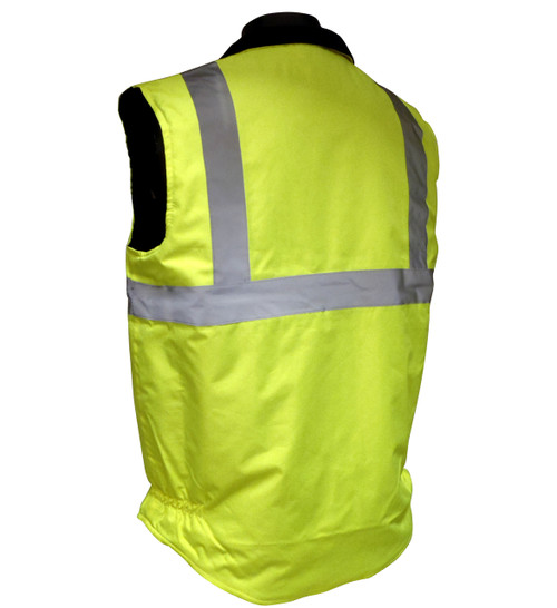 Insulated Reversable Water Repellent Class 2 Safety Vests - Quilted Lining Back