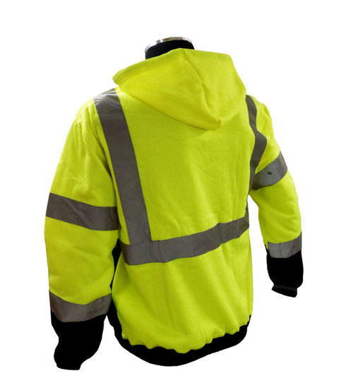 Sweatshirt with hood, high visibility yellow and black, ribbed cuffs and waist, ANSI Class 3 Back
