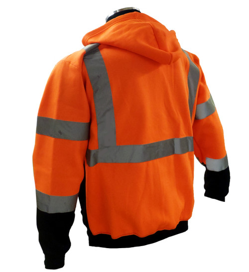 Hi-Vis Orange/Black Hoodie Sweatshirt, ANSI / ISEA 107-2010 Class 3 Compliant Back