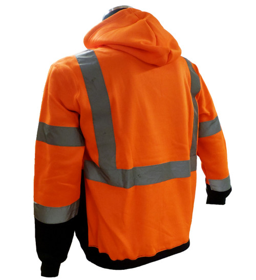 Sweatshirt with hood, high visibility orange and black, ANSI Class 3 Back