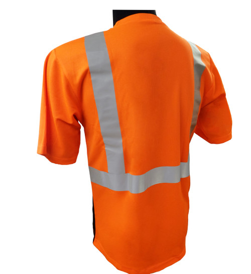 Hi-Vis Class 2 Reflective Safety Shirt - Safety Lime Orange / Black Bottom Back ##BBO820 ##