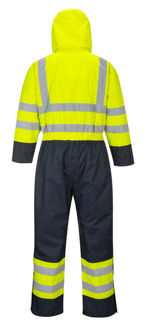 Hi-Vis Lined Coverall - Hi-Vis Yellow Back